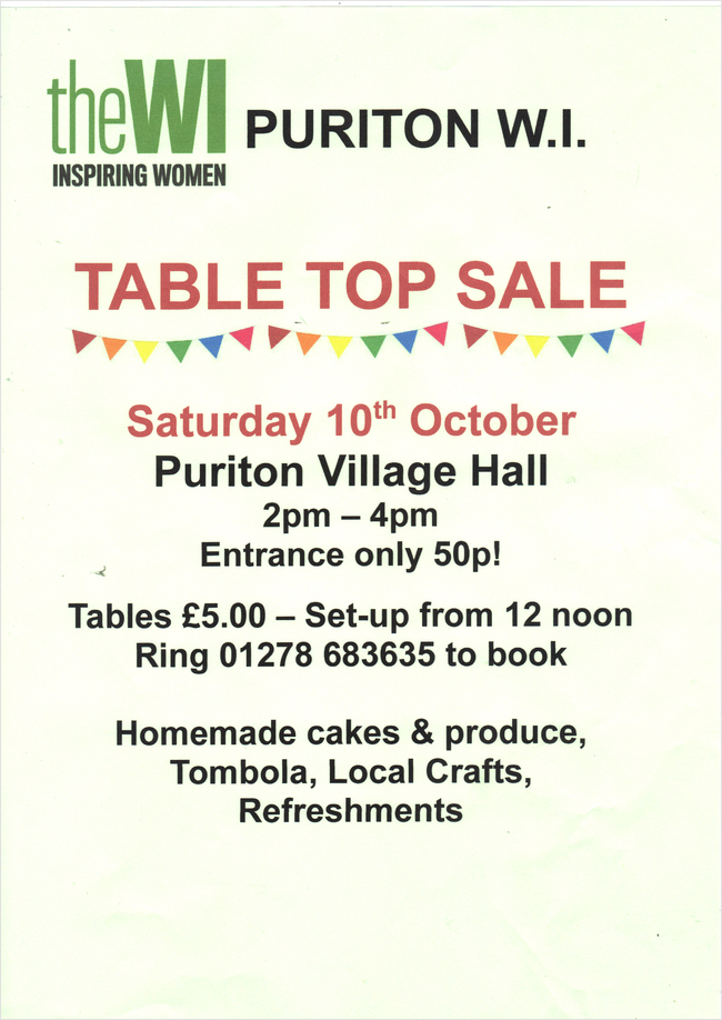 Puriton WI Table Top Sale