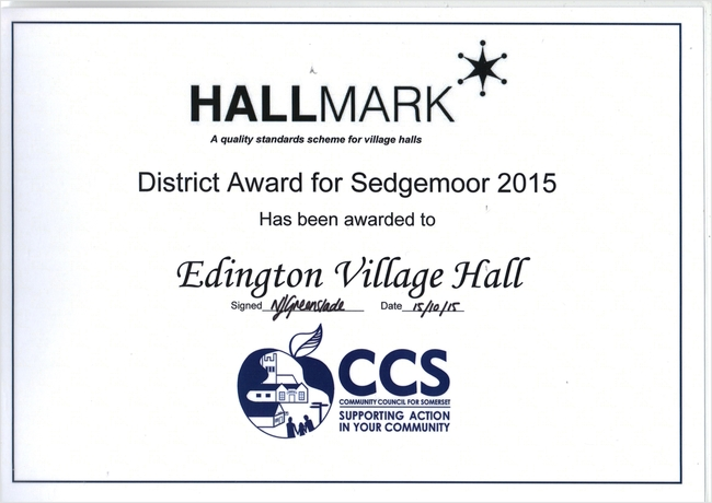 HALLMARK DISTRICT AWARD FOR SEDGEMOOR 2015
