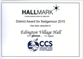 HALLMARK District Awardfor Sedgemoor 2015